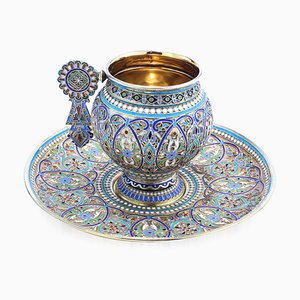 19th Century Imperial Russian Solid Silver-Gilt & Enamel Cup on Saucer, 1880s, Set of 2
