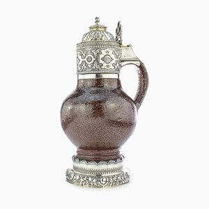20th Century English Solid Silver & Tigerware Pottery Jug, 1910s