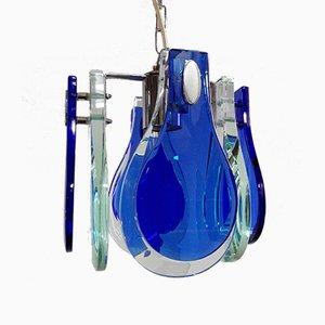Vintage Ultramarinblaue und Türkisfarbene Hängelampe im Stil von Max Ingrand für Fontana Arte von Veca, 1960er
