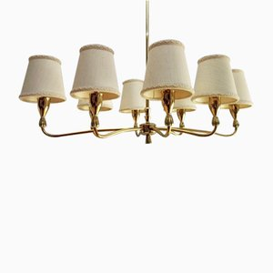 Chandelier in Brass with Eight Lights & Original Lampshades, Italy, 1950s