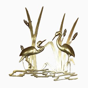 Large Brass Wall Decoration Depicting Cranes in the Reeds, 1960s