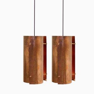 Lampes à Suspension Scandinaves Minimalistes en Cuivre, 1960s, Set de 2