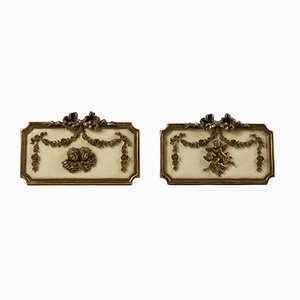 Plaster with Putti and Decorations, Set of 2