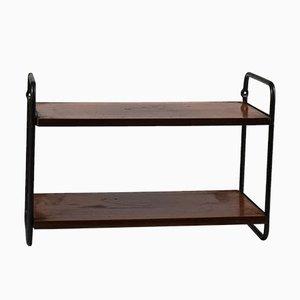 Wall Shelves in Veneered Wood and Black Metal