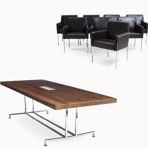Esszimmerset mit Tisch & 8 Stahlstühlen von Enrico Franzolini für Moroso