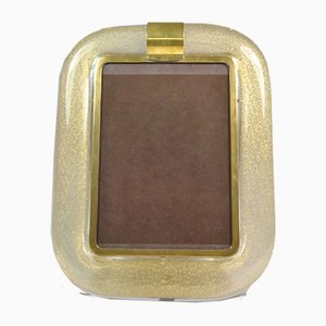 Picture Frame in Pulegoso Murano Glass and Gold Leaf by Tommaso Barbi, Italy, 1970s