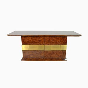 Sideboard in Walnut with Brass Frieze by Luciano Frigerio, Italy, 1970s