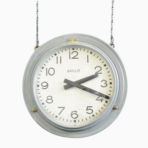Double Sided Zinc Station Clock by Brillie, 1920s