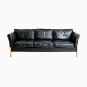 Black Leather Sofa from Stouby, 1960s