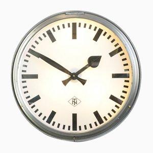 Grande Horloge d'Usine avec Éclairage de TN, 1950s
