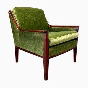 Scandinavian Velvet Lounge Chair, 1950s
