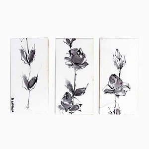 Ceramic Tile Triptych by Roger Capron, Set of 3