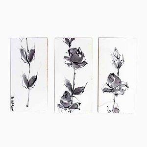 Triptychon aus Keramikfliesen von Roger Capron, 3er Set