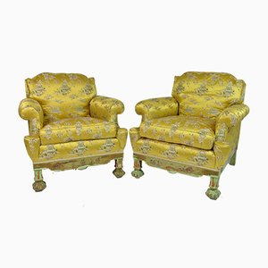 Living Room Set with Chinoiserie Decoration in Original Silk Fabric, France, 1890s, Set of 3
