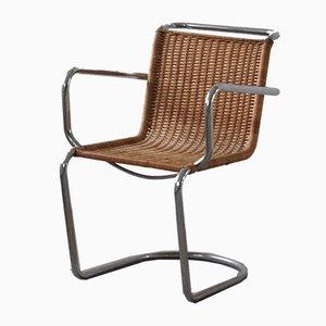 Mid-Century Armlehnstuhl aus Korbgeflecht & Stahl im Stil von Bauhaus, 1940er