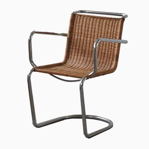 Mid-Century Wicker and Steel Armchair in the Style of Bauhaus, 1940s