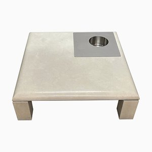 Botticino Marble and Steel Coffee Table in the Style of Willy Rizzo, 1970s