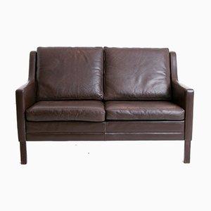 Vintage Danish Brown Leather Sofa by Mogens Hansen, 1960