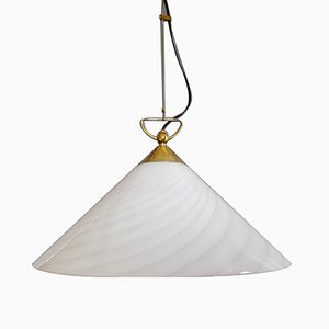 Große Murano Glas Deckenlampe in Weiß & Grau, 1960er