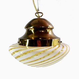 Italienische Murano Glas & Messing Lampe von Seguso, 1960er