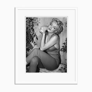 Marilyn Monroe Relaxes in Palm Springs Silver Gelatin Resin Print Framed in White by Baron