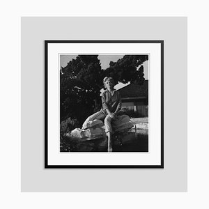 Marilyn Monroe Wearing Striped Capri Pants Silver Gelatin Resin Print Framed in Black by Baron