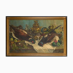 Remy Van Sluys, Still Life with Pheasants after the Hunt, Oil on Canvas