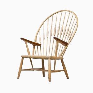 Peacock Chair with Sheepskin Throw by Hans J. Wegner for Johannes Hansen, 1960s