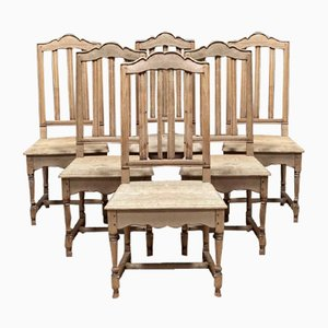 French Oak Farmhouse Dining Chairs, Set of 6