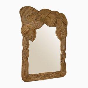Vintage French Rattan Palm Tree Mirror, 1980s