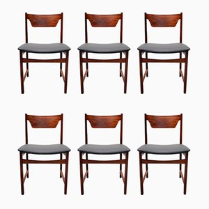Mid-Century Black Leather & Rosewood Dining Chairs, Set of 6