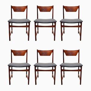 Mid-Century Esszimmerstühle aus Schwarzem Leder & Palisander, 6er Set