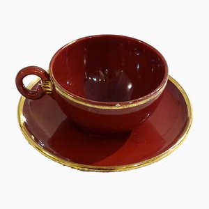Large Earthenware Tea Cup from St. Clement, 1950s