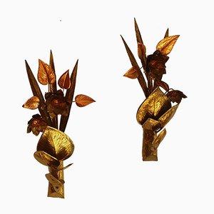 Florale Wandlampen aus Kupfer, 2er Set