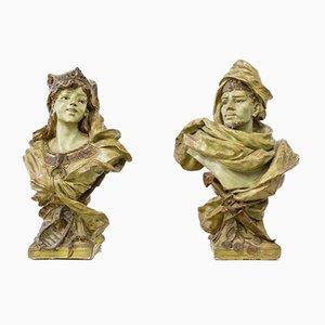 Modernist Sculptural Busts, 1900s, Set of 2