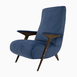 Italian Mid-Century Modern Velvet Armchair, 1950s