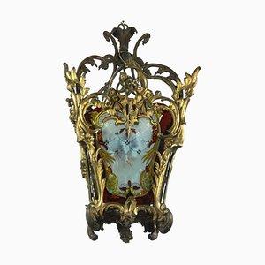 Lampada da soffitto in bronzo dorato e vetro