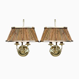 Brass and Reeds Wall Lights in the Style of Gabriella Crespi, 1970, Set of 2