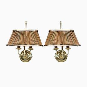 Wandlampen aus Messing & Schilfrohr im Stil von Gabriella Crespi, 1970, 2er Set