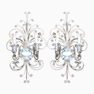 French Silver Metal & Crystal Lamps from Maison Jansen, 1950s, Set of 2
