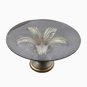 French Silver Wood & Glass Coffee Table, 1970