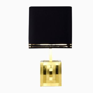 Spanish Brass Cubica Table Lamp by Willy Rizzo for Bd Lumica, 1970s