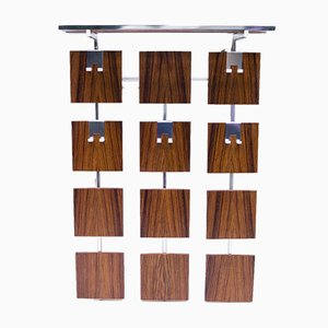 Vintage Wood & Chrome Wall Rack, 1970s
