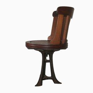 Chaise Antique en Teck, Cuir et Fer
