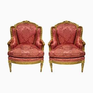Louis XVI Bergère à Oreilles Armlehnstühle, 2er Set