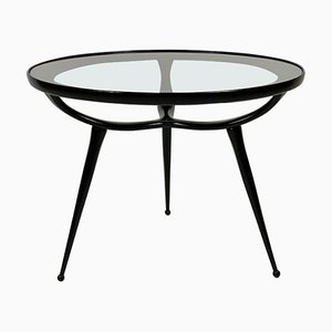 Round Mid-Century Black Lacquered Three Legs Side Table