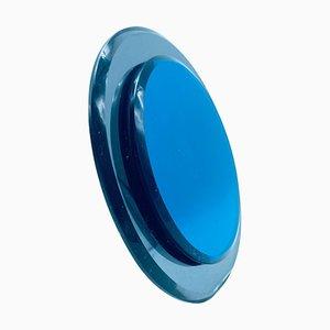 Blauer Tischspiegel von Cristal Art, Italien, 1970er