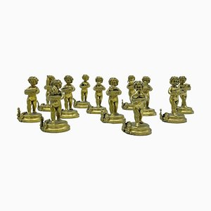 Gilt Silver Putti Place Card Holders, Set of 12, Italy, 1950s