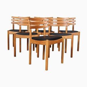 Eichenholz und Leder Esszimmerstühle von Poul Volther, 6er Set