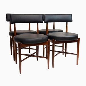 Fresco Black Vinyl Dining Chairs from G-Plan, 1960s, Set of 4